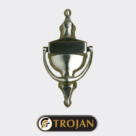 A Trojan door knocker in chrome for use on a Solidor front door