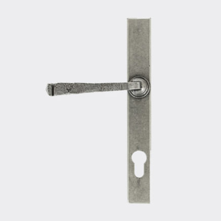 A traditional pewter door handle for use in a Solidor front door