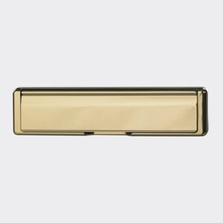 A gold letterbox for use on a Solidor door
