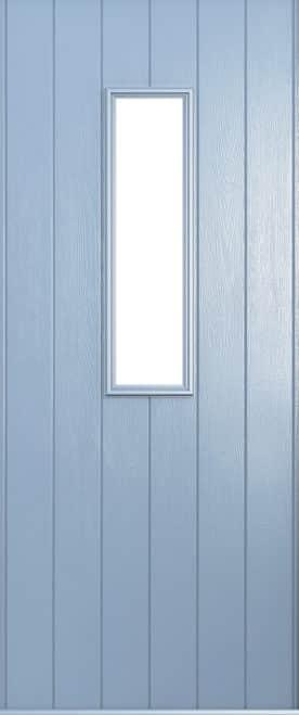 A Solidor flint front door in duck egg blue