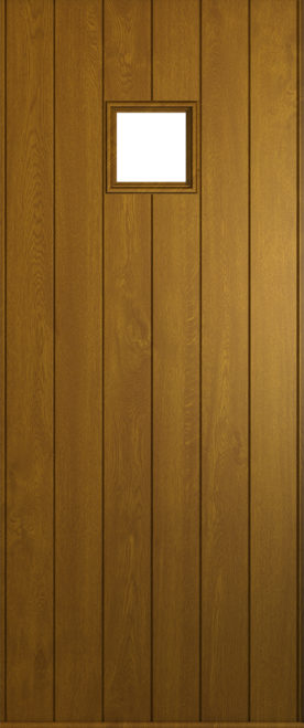 A Solidor Flint Square front door in golden oak