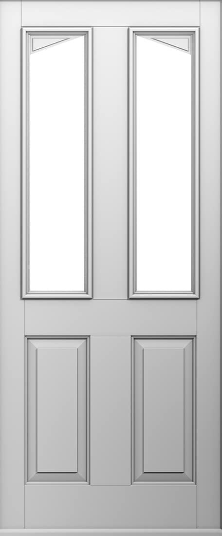 White Harlech front door