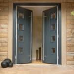 dark grey french doors